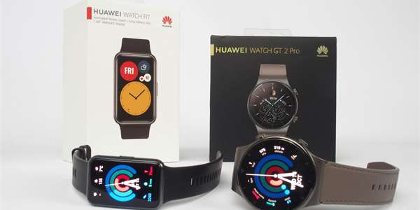 To s hranatým displejem je model Huawei Watch Fit, to s kulatým je Huawei Watch GT2 Pro.