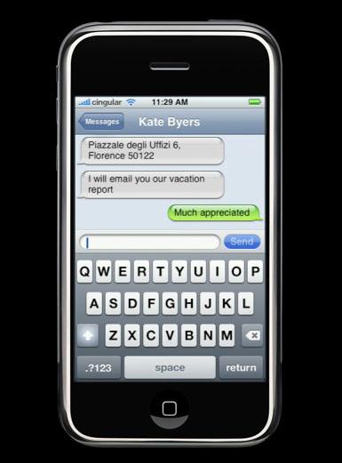 psaní zpráv na Apple iPhone
